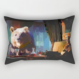 The Dinner Guest or The Bear who came to Dinner Rectangular Pillow