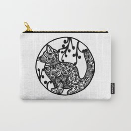 Boho Cat Illustration Black and White Paisley Carry-All Pouch