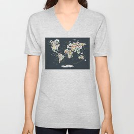 Cartoon animal world map for kids, back to school. Animals from all over the world Unisex V-Neck