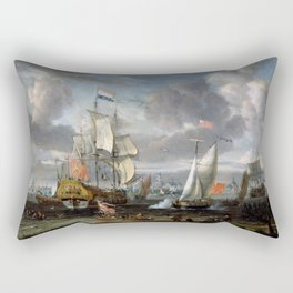 Abraham Storck - An English Yacht saluting a Dutch Man-of-War in the port of Rotterdam (1708) Rectangular Pillow