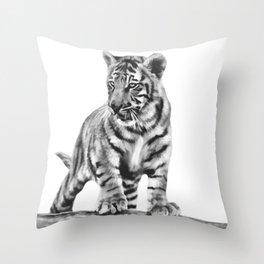 Baby tiger cub pose Throw Pillow