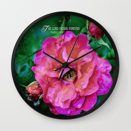 Fuchsia Flower With Raindrops Wall Clock