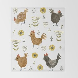 chicken floral Throw Blanket