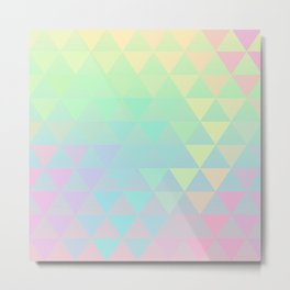 Holographic geometric vector background. 80s and 90s fashion design Metal Print