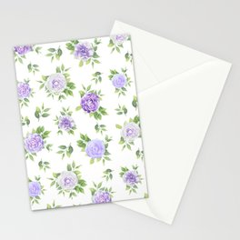 Hand painted lavender violet green watercolor floral Stationery Cards