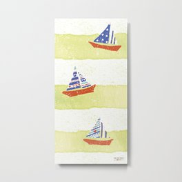 Tres navíos en el mar! Metal Print