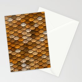 Rustic metallic gold copper silver abstract mermaid pattern Stationery Cards