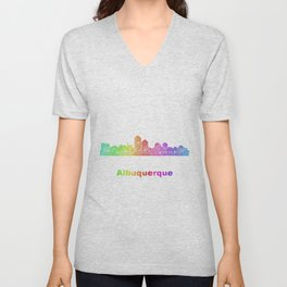 Rainbow Albuquerque skyline Unisex V-Neck