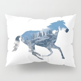 Horse Silhouette with Yosemite Valley Inlay Pillow Sham