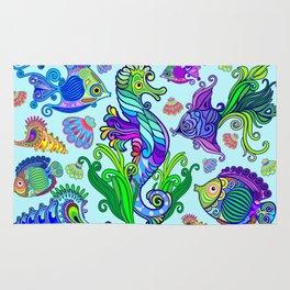 Marine Life Exotic Fishes & SeaHorses Ornamental Style Rug