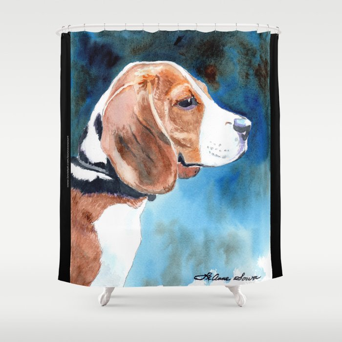 Bonny Beagle Shower Curtain By Leannesowaart
