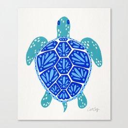 Sea Turtle – Blue Palette Canvas Print