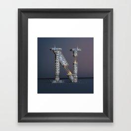 At Night Letter N Framed Art Print