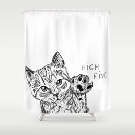 Kitten high five Shower Curtain