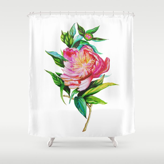 Bright Red And Pink Peony Shower Curtain By Totalflora