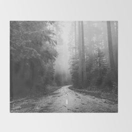 Redwood Forest Adventure Black and White - Nature Photography Throw Blanket