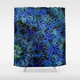 Supernova in blue and geen Shower Curtain