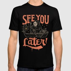 See You MEDIUM Black Mens Fitted Tee