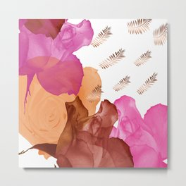 Vibrant Floating Rose Petals & Gold Leaves Metal Print