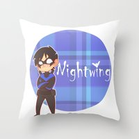 nightwing Throw Pillows featuring Chibi Nightwing by psych0tastic