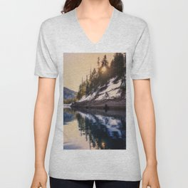 Reflections of a Dream Lake McCloud California Unisex V-Neck