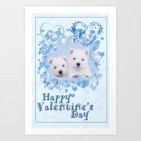 westie Art Prints featuring Westie Valentine by petsArt