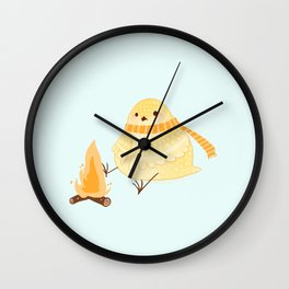 Cozy Canaries-Fireside Canary  Wall Clock