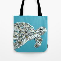 sea turtle Tote Bags featuring Sea Turtle by Rachel Russell