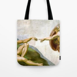 The Creation of Adam Painting by Michelangelo Sistine Chapel Tote Bag