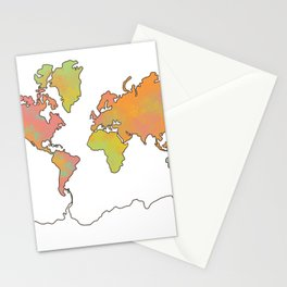 Contour Map of the World Stationery Cards