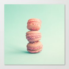 Pink Macaroons on Mint  Canvas Print
