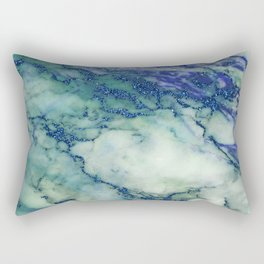 Marble Print Gray with blue glitter accents Rectangular Pillow