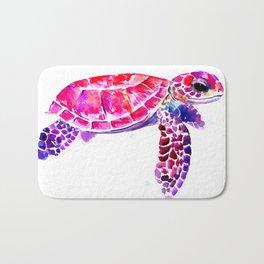 Purple Turtle Bright Pink, purple blue turtle illustration Bath Mat