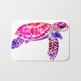 Purple Turtle Bright Pink, purple blue turtle illustration, children room decor Bath Mat