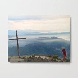 Rustic Mountaintop Cross at Sunrise Metal Print