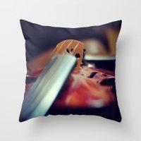 violin Throw Pillows featuring Violin by KimberosePhotography