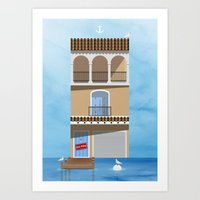 skiing Art Prints featuring Gone Skiing by Chris Redford