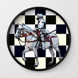 Knight on white horse with Chess board Wall Clock