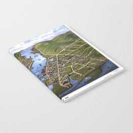 MYSTIC RIVER CONNECTICUT city old map Father Day art print Notebook