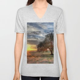 Lonely tree in a field Unisex V-Neck