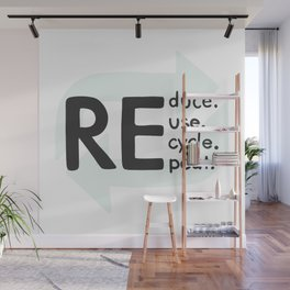 Reduce, reuse, recycle, repeat. Be eco Wall Mural