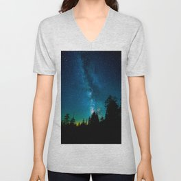 Blue White Milky Way Galaxy At Night Stars At Night Black Trees Silhouette Unisex V-Neck