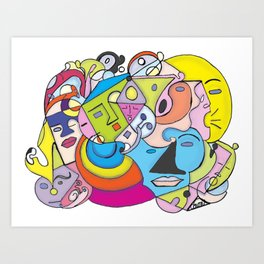 Talk Talk ,Sleepy, and Moonface Graffiti  Art Print