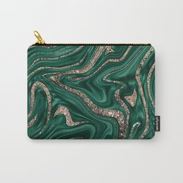 Emerald Green Black Gold Glitter Marble #1 #decor #art #society6 Carry-All Pouch