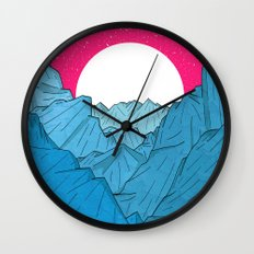 The moon over the mountains Wall Clock