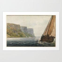 Painting Boat Passing Near Cliffs Art Print