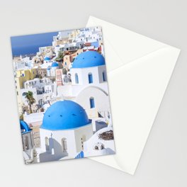 Blue domes of churches in Oia village, Santorini island, Greece Stationery Cards