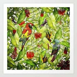 My tropical Summer Flowers and Birds Garden - Jungle Pattern Art Print