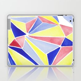Watercolor colorful beach triangles. Watercolor geometry 3D effect. Laptop & iPad Skin