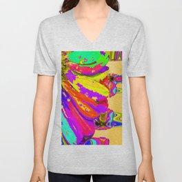 Rainbow Abstract Daisy Unisex V-Neck